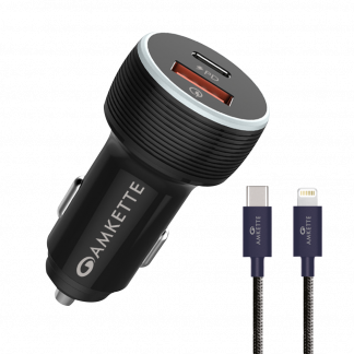 Power Pro 2 Port 7.2 Amp PD Car Charger by Amkette