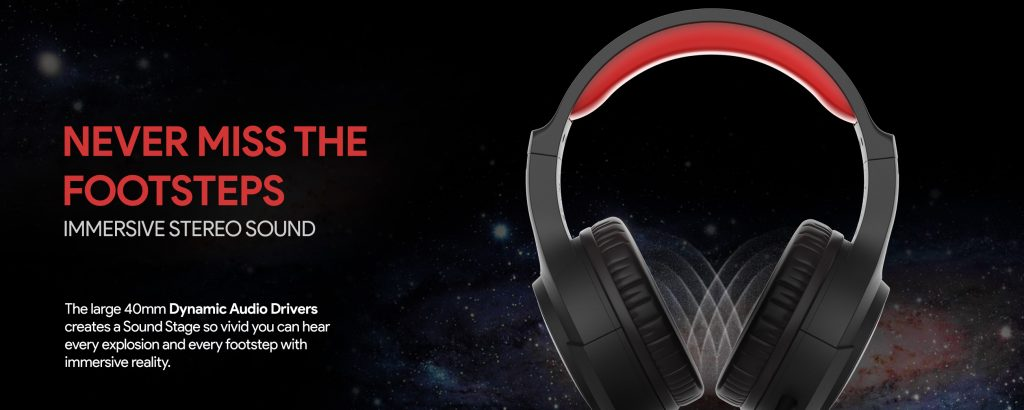 Antares LED Gaming Headphones  in Red and black color